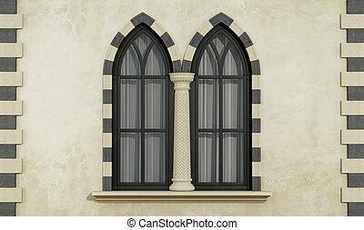 Gothic facade with windows - Old facade with mullioned...