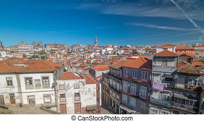 Panoramic overview of old town of Porto timelapse, Portugal...