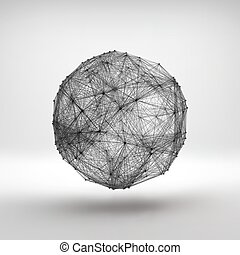 Connection Structure Wireframe Vector Illustration