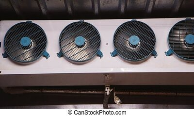 Industrial fans inside the freezer