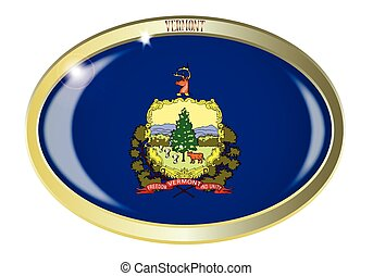 Vermont State Flag Oval Button - Oval metal button with the...