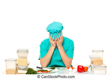 scared cook man worried pose isolated white background -...