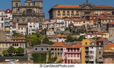 overview of old town of Porto timelapse, Portugal - overview...