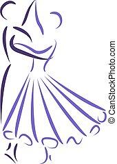 Waltz dancing couple. - Dancing couple logo isolated on...