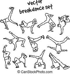 set of break dancers - Contour silhouettes set of break...