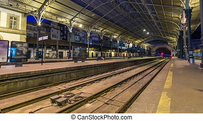 Train at platform of Sao Bento Train Station timelapse in...