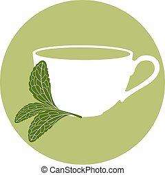 Stevia and a cup of herbal tea - Stevia logo tempate...