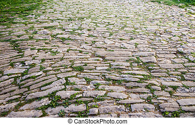 cobblestone pavement in the old town