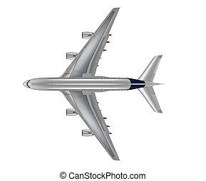 sommet, vue, isolé, quatre, moteur, passager, avion