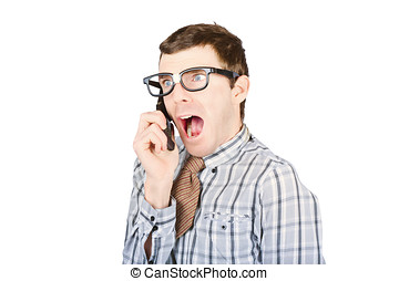 Frightened man with bad news communication - Shocked male...