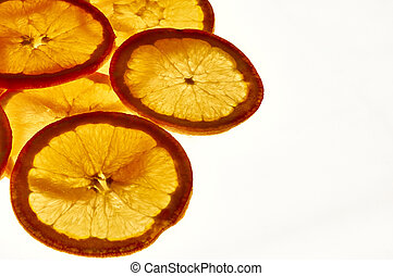 Against the light orange slices elevated view - Group of...