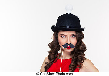 Funny curly woman in ridiculous black hat with light bulb -...