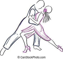 Dancing couple illustration. - Sketchy, hand-drawn couple...