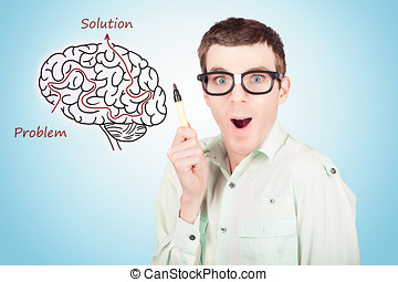 Brain businessman with creative idea illustration - Creative...