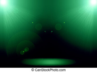 Abstract image of green lighting flare 2 spotlight on the...