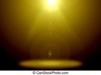Abstract image of gold lighting flare on the floor stage