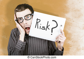 Stressed office worker holding risk white board