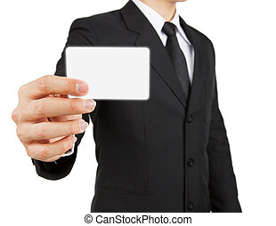 Businessman holding paper or visit card isolated on white...