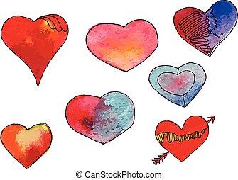 Watercolor heart set