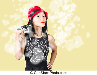 Photographer taking photos with retro film camera - Female...