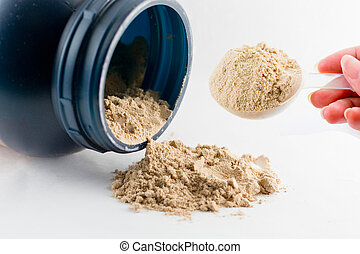 The hand raise a spoon measure Whey protein chocolate powder...