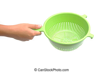 Hand with plastic colander isolated on white background