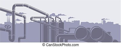 Industrial oil refinery factory landscape illustration background vector