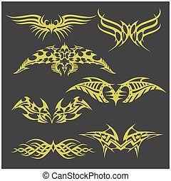 Tattoo set in tribal style on dark background - Symmetric...