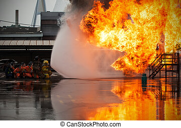 Firefighters training, The Employees Annual training Fire...