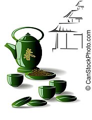Green tea. Teapot with cups and saucers