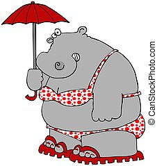 Hippo In A Polka-dot Bikini - This illustration depicts a...