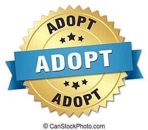 adopt 3d gold badge with blue ribbon