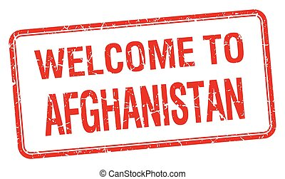 welcome to Afghanistan red grunge square stamp