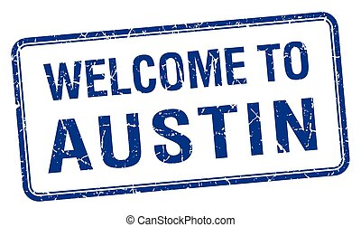 welcome to Austin blue grunge square stamp