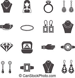 Jewelry Black White Icons Set - Jewelry black white icons...