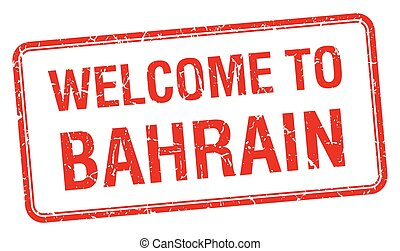 welcome to Bahrain red grunge square stamp