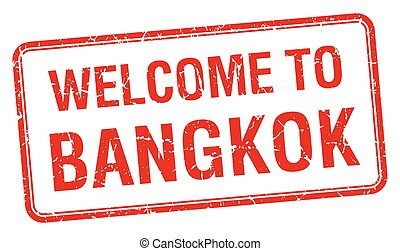 welcome to Bangkok red grunge square stamp