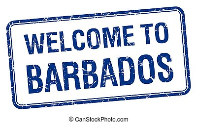 welcome to Barbados blue grunge square stamp