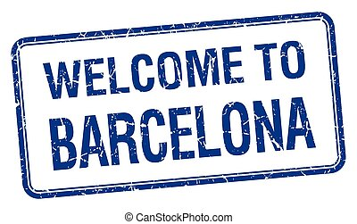 welcome to Barcelona blue grunge square stamp