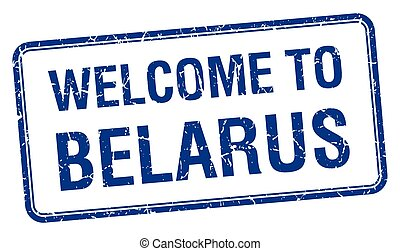 welcome to Belarus blue grunge square stamp