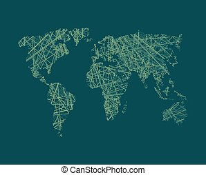 Map of World network Continents of planet Earth Business...