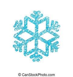 Snowflake of network. Snow line. Winter exhibit.