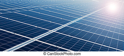 Power plant using renewable solar energy - Solar cell panels...