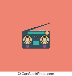 Classic 80s boombox Colorful vector icon Simple retro color...