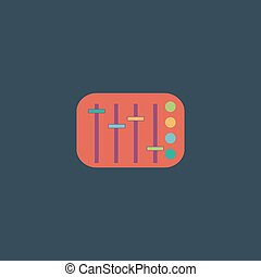 Sound Mixer Console. Colorful vector icon. Simple retro...