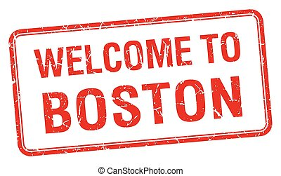 welcome to Boston red grunge square stamp