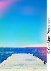 dock in the Mediterranean sea, with a light leak effect