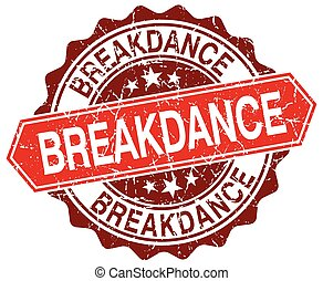 breakdance red round grunge stamp on white