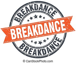 breakdance round orange grungy vintage isolated stamp