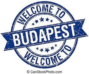 welcome to Budapest blue round ribbon stamp